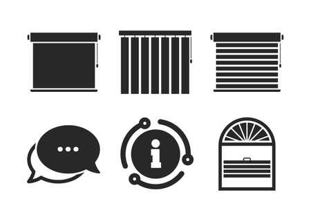Plissé, rollen, verticaal en horizontaal. Chat, info teken. Luifels pictogrammen. Jaloezieën of jaloeziesymbolen. Toespraak bubble stijlicoon. Vector
