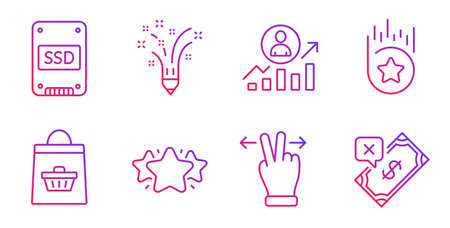 Ensemble d'icônes de ligne Inspiration, Ssd et Star. Achats en ligne, gestes sur écran tactile et panneaux d'échelle de carrière. Étoile de fidélité, symboles de paiement rejetés. Crayon de créativité, disque SSD. Vecteur Vecteurs
