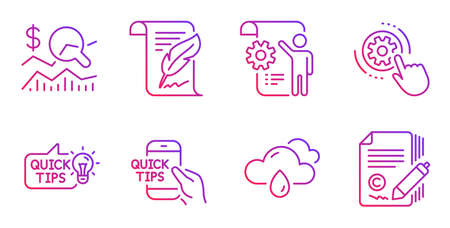 Education idea, Check investment and Education line icons set. Cogwheel settings, Settings blueprint and Rainy weather signs. Feather, Copywriting symbols. Quick tips, Business report. Vector 일러스트