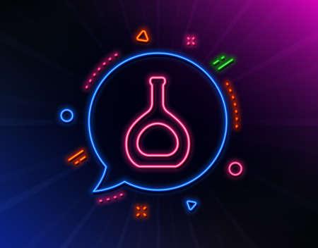 Cognac bottle line icon. Neon laser lights. Brandy alcohol sign. Glow laser speech bubble. Neon lights chat bubble. Banner badge with cognac bottle icon. Vector