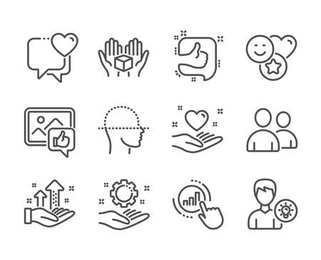 Set of People icons, such as Like, Hold heart, Hold box, Smile, Like photo, Heart, Employee hand, Users, Analysis graph, Person idea, Graph chart, Face scanning line icons. Like icon. Vector
