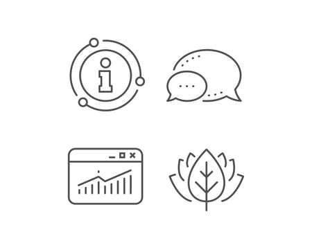 Website Traffic line icon. Chat bubble, info sign elements. Report chart or Sales growth sign. Analysis and Statistics data symbol. Linear website Statistics outline icon. Information bubble. Vector Illustration