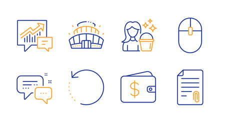 Recovery data, Employees messenger and Cleaning line icons set. Computer mouse, Dollar wallet and Accounting signs. Arena stadium, Attachment symbols. Backup info, Speech bubble. Vector Ilustração