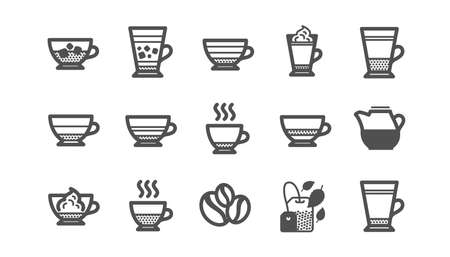 Coffee types and Tea icons. Mocha, Cappuccino and Latte. Americano cup classic icon set. Quality set. Vector