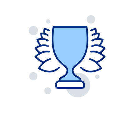 Award cup line icon. Winner Trophy with Laurel wreath symbol. Sports achievement sign. Linear design sign. Colorful winner icon. Vector