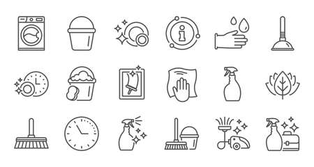 Cleaning line icons. Laundry, Window sponge and Vacuum cleaner. Washing machine linear icon set. Quality line set. Vector Ilustracja