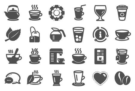 Coffee and Tea icons. Set of Cappuccino, Juice with ice and Latte signs. Teapot, Coffeepot and Hot drink with Steam icons. Mint leaf, Herbal beverage and Coffee vending symbols. Quality set. Vector