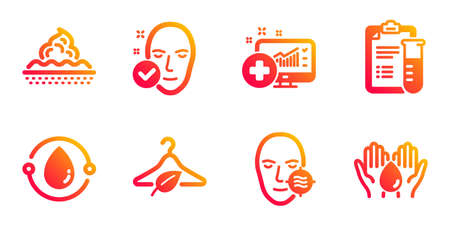 Health skin, Cold-pressed oil and Problem skin line icons set. Slow fashion, Medical analyzes and Medical analytics signs. Wash hands symbol. Clean face, Organic tested. Healthcare set. Vector