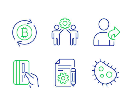 Refer friend, Payment card and Refresh bitcoin line icons set. Documentation, Employees teamwork and Bacteria signs. Share, Credit card, Update cryptocurrency. Project. Technology set. Vector