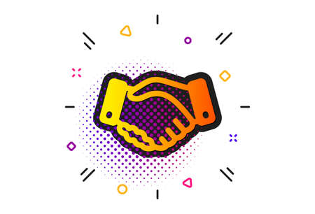 Hand gesture sign. Halftone circles pattern. Employees handshake icon. Business deal palm symbol. Classic flat employees handshake icon. Vector