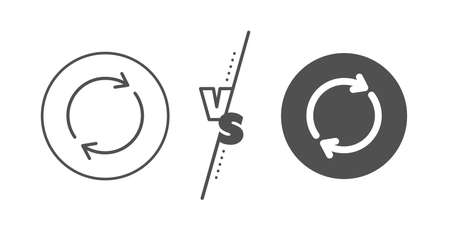 Rotation arrow sign. Versus concept. Refresh line icon. Reset or Reload symbol. Line vs classic full rotation icon. Vector
