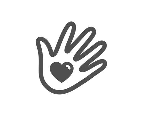 Hand with heart sign. Social responsibility icon. Charity symbol. Classic flat style. Simple social responsibility icon. Vector