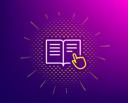 Instruction Book line icon. Halftone pattern. Education with hand pointer symbol. E-learning sign. Gradient background. Read instruction line icon. Yellow halftone pattern. Vector 일러스트