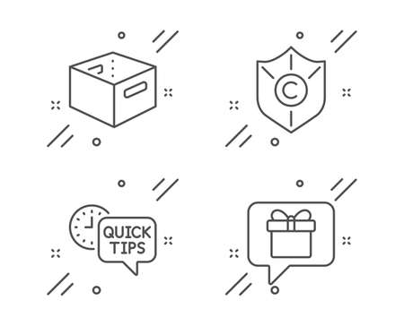 Office box, Quick tips and Copyright protection line icons set. Wish list sign. Delivery box, Helpful tricks, Shield. Business set. Line office box outline icon. Vector  イラスト・ベクター素材