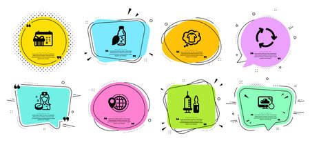Water bottle, Recycling and Medical vaccination line icons set. Chat bubbles with quotes. World travel, T-shirt and Christmas calendar signs. Recovery cloud, Nurse symbols. Vector