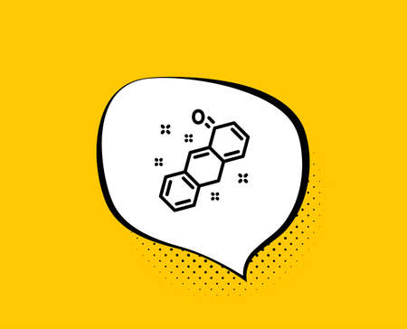 Chemical formula line icon. Comic speech bubble. Chemistry lab sign. Analysis symbol. Yellow background with chat bubble. Chemical formula icon. Colorful banner. Vector
