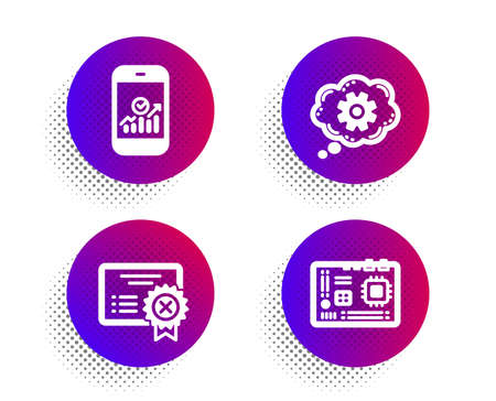 Reject certificate, Smartphone statistics and Cogwheel icons simple set. Halftone dots button. Motherboard sign. Decline file, Mobile business, Engineering tool. Computer component. Vector 일러스트