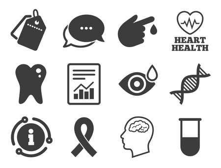 Blood test, dna and neurology signs. Discount offer tag, chat, info icon. Medicine, medical health and diagnosis icons. Tooth, report symbols. Classic style signs set. Vector Ilustrace
