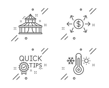 Quick tips, Circus and Dollar exchange line icons set. Thermometer sign. Helpful tricks, Attraction park, Payment. Thermostat. Business set. Line quick tips outline icon. Vector  イラスト・ベクター素材