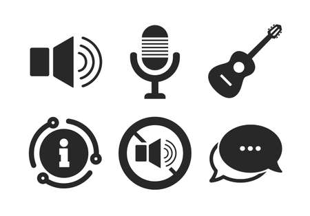 Microphone and Sound speaker symbols. Chat, info sign. Musical elements icons. No Sound and acoustic guitar signs. Classic style speech bubble icon. Vector Illusztráció