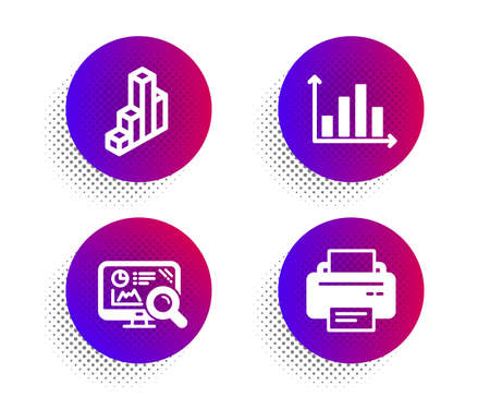 Seo analytics, Diagram graph and 3d chart icons simple set. Halftone dots button. Printer sign. Statistics, Presentation chart, Presentation column. Printing device. Technology set. Vector Illustration
