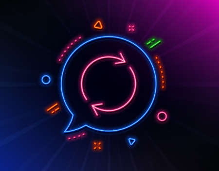Refresh line icon. Neon laser lights. Rotation arrow sign. Reset or Reload symbol. Glow laser speech bubble. Neon lights chat bubble. Banner badge with full rotation icon. Vector