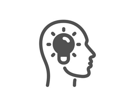 Lightbulb sign. Idea head icon. Core value symbol. Classic flat style. Simple idea head icon. Vector