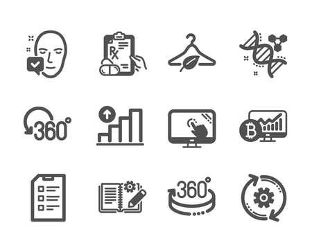 Set of Science icons, such as Touch screen, Chemistry dna, Full rotation, Graph chart, Engineering documentation, Cogwheel, 360 degrees, Prescription drugs, Checklist, Bitcoin chart. Vector Ilustração