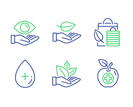Leaf, Bio shopping and Organic product line icons set. Oil serum, Health eye and Medical food signs. Plant care, Leaf, Cosmetic care. Optometry. Healthcare set. Line leaf outline icons. Vector