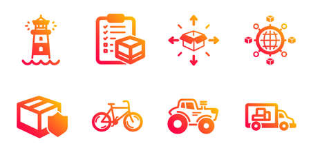 Logistics network, Bicycle and Delivery insurance line icons set. Lighthouse, Parcel checklist and Tractor signs. Parcel delivery, Truck transport symbols. International tracking, Bike. Vector
