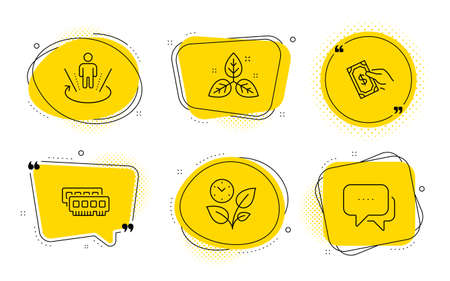 Leaves, Ram and Message signs. Chat bubbles. Pay money, Augmented reality and Fair trade line icons set. Hold cash, Virtual reality, Leaf. Grow plant. Business set. Line pay money icon. Vector