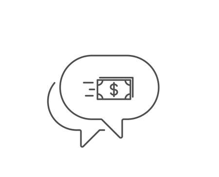 Transfer Cash money line icon. Chat bubble design. Banking currency sign. Dollar or USD symbol. Outline concept. Thin line money transfer icon. Vector 向量圖像
