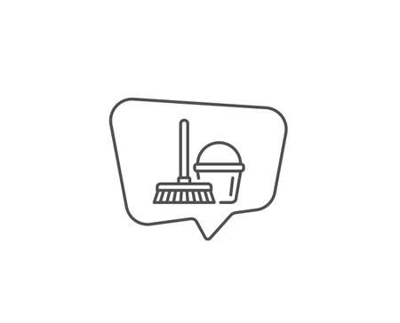 Cleaning bucket with mop line icon. Chat bubble design. Washing Housekeeping equipment sign. Outline concept. Thin line bucket with mop icon. Vector Ilustração