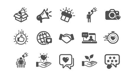 Brand ambassador icons. Influence people, Megaphone and Representative. Handshake, influencer marketing person, ambassador person icons. Classic set. Quality set. Vector Illustration
