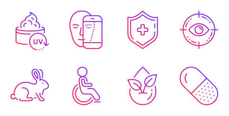Eye target, Medical shield and Organic product line icons set. Animal tested, Uv protection and Face biometrics signs. Disabled, Capsule pill symbols. Optometry, Medicine protection. Vector Illustration