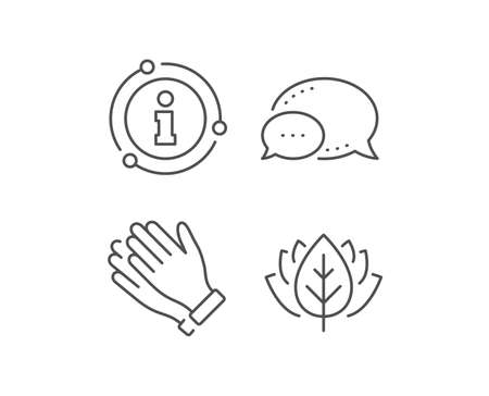Clapping hands line icon. Chat bubble, info sign elements. Clap sign. Victory gesture symbol. Linear clapping hands outline icon. Information bubble. Vector Illustration