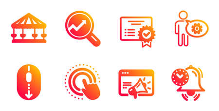 Scroll down, Cogwheel and Carousels line icons set. Seo marketing, Click hand and Certificate signs. Analytics, Time management symbols. Mouse swipe, Engineering tool. Technology set. Vector