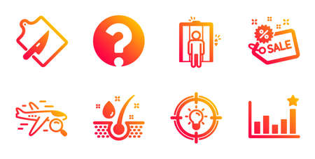 Serum oil, Search flight and Sale line icons set. Question mark, Cutting board and Elevator signs. Idea, Efficacy symbols. Healthy hairs, Find travel. Business set. Vector Standard-Bild - 129395120