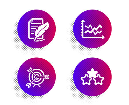 Target, Feather signature and Diagram chart icons simple set. Halftone dots button. Ranking stars sign. Targeting, Feedback, Presentation graph. Winner award. Education set. Vector Ilustração