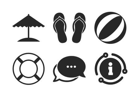 Ball, umbrella and flip-flops sandals signs. Chat, info sign. Beach holidays icons. Lifebuoy symbol. Classic style speech bubble icon. Vector