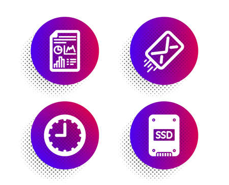 E-mail, Time and Report document icons simple set. Halftone dots button. Ssd sign. Mail delivery, Office clock, Growth chart. Solid-state drive. Technology set. Classic flat e-mail icon. Vector Çizim