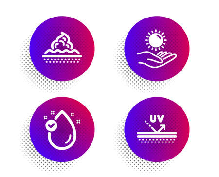 Vitamin e, Sun protection and Skin care icons simple set. Halftone dots button. Uv protection sign. Oil drop, Ultraviolet care, Face cream. Skin cream. Beauty set. Classic flat vitamin e icon. Vector Ilustração