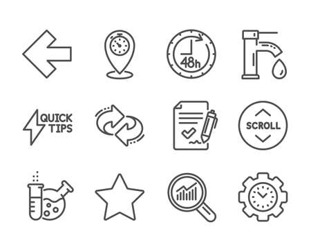 Set of Technology icons, such as Approved agreement, Refresh, Time management, Scroll down, Left arrow, Quickstart guide, 48 hours, Tap water, Timer, Data analysis, Star, Chemistry lab. Vector
