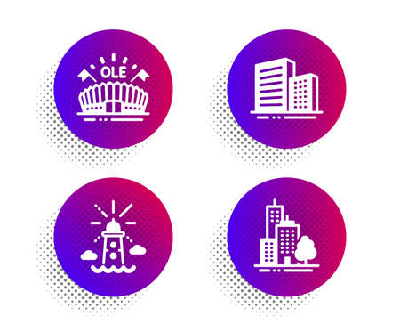 Sports arena, Lighthouse and Buildings icons simple set. Halftone dots button. Skyscraper buildings sign. Event stadium, Navigation beacon, City architecture. Town architecture. Buildings set. Vector Illusztráció