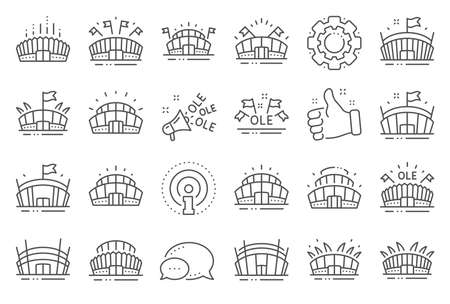 Sports stadium line icons. Ole chant, arena football, championship architecture. Arena stadium, sports competition, event flag icons. Sport complex, megaphone or loudspeaker. Line signs set. Vector