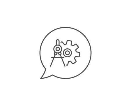 Cogwheel dividers line icon. Chat bubble design. Engineering tool sign. Cog gear symbol. Outline concept. Thin line cogwheel dividers icon. Vector Illustration