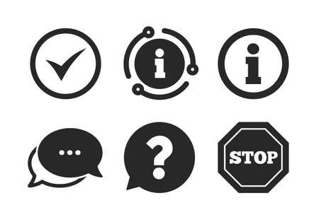 Stopp-Verbot und Frage-FAQ-Marke Sprechblasenzeichen. Chat, Infoschild. Informationssymbole. Genehmigtes Häkchensymbol. Sprechblase im klassischen Stil. Vektor Vektorgrafik