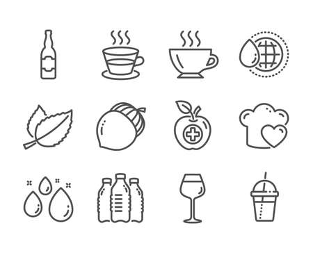 Set of Food and drink icons, such as Medical food, Love cooking, Acorn, Coffee, World water, Coffee cup, Mint leaves, Bordeaux glass, Water bottles, Beer bottle line icons. Apple, Chef hat. Vector Ilustração