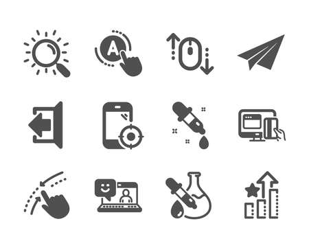 Set of Technology icons, such as Chemistry pipette, Seo phone, Sign out, Ab testing, Online payment, Swipe up, Paper plane, Scroll down, Ranking stars, Chemistry experiment, Search, Smile. Vector