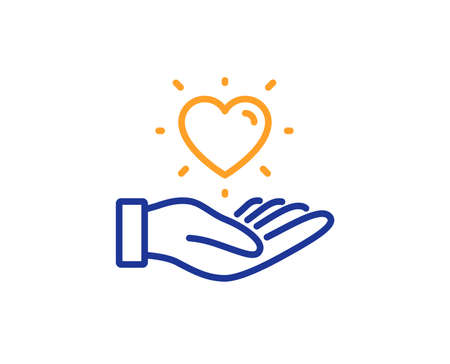 Friends love sign. Hold heart line icon. Brand ambassador hand symbol. Colorful outline concept. Blue and orange thin line hold heart icon. Vector Illustration